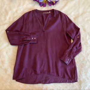 Soft Surroundings Purple Tencel Popover Top Sz L/P
